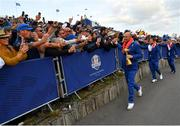 30 September 2018; Europe captain Thomas Bjørn celebrates with supporters after winning the Ryder Cup following the Ryder Cup 2018 Matches at Le Golf National in Paris, France. Photo by Ramsey Cardy/Sportsfile