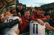 30 September 2018; Bohemians supporters and players celebrate after Dinny Corcoran scored their goal during the Irish Daily Mail FAI Cup Semi-Final match between Bohemians and Cork City at Dalymount Park in Dublin. Photo by Stephen McCarthy/Sportsfile