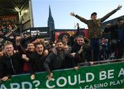 30 September 2018; Bohemians supporters celebrate after Dinny Corcoran scored their goal during the Irish Daily Mail FAI Cup Semi-Final match between Bohemians and Cork City at Dalymount Park in Dublin. Photo by Stephen McCarthy/Sportsfile