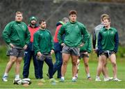 2 October 2018; From left, Conor Carey, Caolin Blade, Dominic Robertson-McCoy and Kieran Marmion during Connacht Rugby squad training at the Sportsground in Galway. Photo by Harry Murphy/Sportsfile