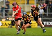 8 April 2018; Hannah Looney of Cork in action against Meighan Farrell, centre, and Miriam Walshe of Kilkenny during the Littlewoods Ireland Camogie League Division 1 Final match between Kilkenny and Cork at Nowlan Park in Kilkenny. Photo by Piaras Ó Mídheach/Sportsfile