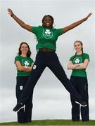 15 September 2018; Team Ireland athletes from left, Miriam Daly, Miranda Tcheutchoua and Sophie Meredith during their team day in the National Sports Campus Dublin ahead of the Youth Olympic Games in Buenos Aires, Argentina. Photo by Eóin Noonan/Sportsfile