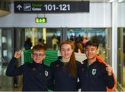 3 October 2018; Team Ireland athletes, from left, David Kitt, Golf, Niamh Coyne, Swimming, and Nhat Nguyen, Badminton ahead of departing from Dublin Airport for the Youth Olympic Games in Buenos Aires, Argentina, Terminal 1, Dublin Airport. Photo by Eóin Noonan/Sportsfile