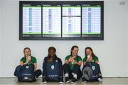 3 October 2018; Team Ireland athletes from left, Sophie Meredith, athletics, Miranda Tcheutchoua, athletics, Lauren Crowley Walsh, Golf, and Miriam Daly ahead of departing from Dublin Airport for the Youth Olympic Games in Buenos Aires, Argentina, Terminal 1, Dublin Airport. Photo by Eóin Noonan/Sportsfile