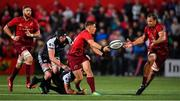 14 September 2018; Ian Keatley of Munster passes to team-mate Arno Botha during the Guinness PRO14 Round 3 match between Munster and Ospreys at Irish Independent Park in Cork. Photo by Brendan Moran/Sportsfile