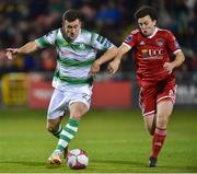 5 October 2018; Aaron Greene of Shamrock Rovers in action against Barry McNamee of Cork City during the SSE Airtricity League Premier Division match between Shamrock Rovers and Cork City Tallaght Stadium, Dublin. Photo by Matt Browne/Sportsfile