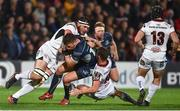 5 October 2018; Tom Farrell of Connacht is tackled by Marcell Coetzee and Billy Burns of Ulster during the Guinness PRO14 Round 6 match between Ulster and Connacht at Kingspan Stadium, in Belfast. Photo by Oliver McVeigh/Sportsfile