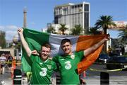5 October 2018; Conor McGregor supporters Oran Meehan, from Kilbeg, Meath, left, and Ronan Lynch, from Carlinstown, Meath, prior to the upcoming UFC 229 event featuring Khabib Nurmagomedov and Conor McGregor in Las Vegas, Nevada, United States. Photo by Stephen McCarthy/Sportsfile