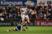 5 October 2018; Jacob Stockdale of Ulster is tackled by Bundee Aki of Connacht during the Guinness PRO14 Round 6 match between Ulster and Connacht at Kingspan Stadium, in Belfast. Photo by Oliver McVeigh/Sportsfile