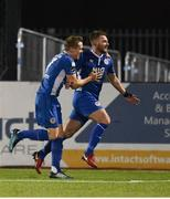 5 October 2018; Conor Clifford, right, of St Patrick's Athletic is congratulated by team-mate Simon Madden after scoring his side's first goal during the SSE Airtricity League Premier Division match between Dundalk and St Patrick's Athletic at Oriel Park, Dundalk, in Louth. Photo by David Fitzgerald/Sportsfile