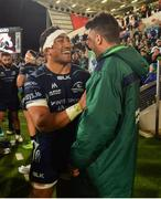 5 October 2018; Bundee Aki of Connacht celebrates with team-mate Tiernan O'Halloran after the Guinness PRO14 Round 6 match between Ulster and Connacht at Kingspan Stadium, in Belfast. Photo by Oliver McVeigh/Sportsfile