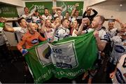 5 October 2018; Dundalk players celebrate in the changing room following the SSE Airtricity League Premier Division match between Dundalk and St Patrick's Athletic at Oriel Park in Dundalk, Co Louth. Photo by Seb Daly/Sportsfile
