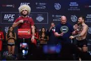 5 October 2018; Khabib Nurmagomedov weighs in, while Conor McGregor is restrained by UFC President Dana White prior to UFC 229 at T-Mobile Arena in Las Vegas, Nevada, United States. Photo by Stephen McCarthy/Sportsfile