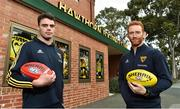 13 June 2018; Hawthorn AFL players Conor Nash, left, and Conor Glass pictured at the old spiritual home of Hawthorn AFL team at Glenferrie Oval in Hawthorn, Victoria in Australia. Photo by Brendan Moran/Sportsfile