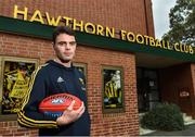 13 June 2018; Hawthorn AFL player Conor Nash pictured at the old spiritual home of Hawthorn AFL team at Glenferrie Oval in Hawthorn, Victoria in Australia. Photo by Brendan Moran/Sportsfile