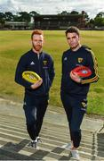 13 June 2018; Hawthorn AFL players Conor Glass, left, and Conor Nash pictured at the old spiritual home of Hawthorn AFL team at Glenferrie Oval in Hawthorn, Victoria in Australia. Photo by Brendan Moran/Sportsfile