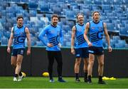 15 June 2018; Zach Tuohy, 2nd from left, of the Geelong Cats AFL team, with team-mates, from left, Jed Bews, Tom Stewart and Mark Blicavs during squad training in the GMHBA Stadium in Geelong, Australia. Photo by Brendan Moran/Sportsfile