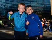 6 October 2018; Leinster supporters Eoin Collins, age 7, from Dún Laoghaire, Co Dublin, left,  and Jamie Delaney, age 7, from Malahide, Co Dublin, prior to the Guinness PRO14 Round 6 match between Leinster and Munster at Aviva Stadium, in Dublin. Photo by Harry Murphy/Sportsfile