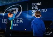 6 October 2018; Leinster supporters Eoin Collins, age 7, from Dún Laoghaire, Co Dublin, left, and Jamie Delaney, age 7, from Malahide, Co Dublin, welcome the Leinster team bus prior to the Guinness PRO14 Round 6 match between Leinster and Munster at Aviva Stadium, in Dublin. Photo by Harry Murphy/Sportsfile