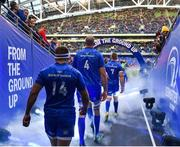 6 October 2018; Leinster players, from left, Fergus McFadden, Devin Toner and Dan Leavy make their way to the field prior to the Guinness PRO14 Round 6 match between Leinster and Munster at the Aviva Stadium in Dublin. Photo by Seb Daly/Sportsfile