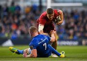 6 October 2018; Dan Goggin of Munster in action against Dan Leavy of Leinster during the Guinness PRO14 Round 6 match between Leinster and Munster at Aviva Stadium, in Dublin. Photo by Harry Murphy/Sportsfile