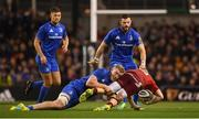 6 October 2018; Andrew Conway of Munster is tackled by Dan Leavy of Leinster during the Guinness PRO14 Round 6 match between Leinster and Munster at Aviva Stadium, in Dublin. Photo by Harry Murphy/Sportsfile