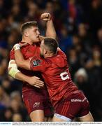 6 October 2018; Alby Mathewson of Munster, right, celebrates with team-mate Dan Goggin, left, after scoring his side's third try during the Guinness PRO14 Round 6 match between Leinster and Munster at the Aviva Stadium in Dublin. Photo by Seb Daly/Sportsfile