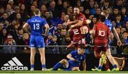 6 October 2018; Alby Mathewson of Munster celebrates with team-mate Dan Goggin after scoring his side's third try during the Guinness PRO14 Round 6 match between Leinster and Munster at the Aviva Stadium in Dublin. Photo by Ramsey Cardy/Sportsfile