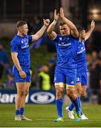 6 October 2018; Josh van der Flier of Leinster applauds supporters after the Guinness PRO14 Round 6 match between Leinster and Munster at Aviva Stadium, in Dublin. Photo by Harry Murphy/Sportsfile