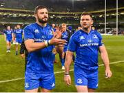 6 October 2018; Robbie Henshaw, left, and Fergus McFadden of Leinster following the Guinness PRO14 Round 6 match between Leinster and Munster at the Aviva Stadium in Dublin. Photo by Seb Daly/Sportsfile