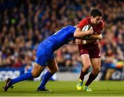 6 October 2018; Joey Carbery of Munster is tackled by Ross Byrne of Leinster during the Guinness PRO14 Round 6 match between Leinster and Munster at the Aviva Stadium in Dublin. Photo by Seb Daly/Sportsfile