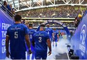 6 October 2018; Leinster players James Ryan, 5, and Michael Bent, 3, make their way to the field prior to the Guinness PRO14 Round 6 match between Leinster and Munster at the Aviva Stadium in Dublin. Photo by Seb Daly/Sportsfile