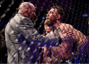 6 October 2018; Conor McGregor in conversation with UFC President Dana White following defeat to Khabib Nurmagomedov in their UFC lightweight championship fight during UFC 229 at T-Mobile Arena in Las Vegas, Nevada, USA. Photo by Stephen McCarthy/Sportsfile
