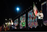 6 October 2018; Team Ireland flagbearer Emma Slevin of Team Ireland, from Renmore, Galway during the opening ceremony of the Youth Olympic Games in Buenos Aires, Argentina. Photo by Eóin Noonan/Sportsfile