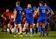 6 October 2018; Cian Healy of Leinster, centre, with team-mates, from left, Dan Leavy, Ross Byrne and James Lowe during the Guinness PRO14 Round 6 match between Leinster and Munster at the Aviva Stadium in Dublin. Photo by Seb Daly/Sportsfile