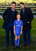 6 October 2018; Matchday mascot 9 year old Dylan Evans, from Delgany, Co. Wicklow,with Leinster players Barry Daly and Tom Daly ahead of the Guinness PRO14 Round 6 match between Leinster and Munster at the Aviva Stadium in Dublin. Photo by Ramsey Cardy/Sportsfile