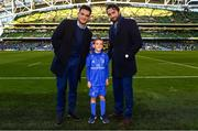 6 October 2018; Matchday mascot 7 year old Killian Dardis, from Derrymore, Killucan, Co. Westmeath, with Leinster players Barry Daly and Tom Daly ahead of the Guinness PRO14 Round 6 match between Leinster and Munster at the Aviva Stadium in Dublin. Photo by Ramsey Cardy/Sportsfile