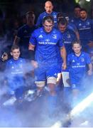 6 October 2018; Matchday mascots 9 year old Dylan Evans, from Delgany, Co. Wicklow, and 7 year old Killian Dardis, from Derrymore, Killucan, Co. Westmeath, with Leinster captain Rhys Ruddock ahead of the Guinness PRO14 Round 6 match between Leinster and Munster at the Aviva Stadium in Dublin. Photo by Ramsey Cardy/Sportsfile