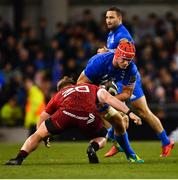 6 October 2018; Josh van der Flier of Leinster is tackled by Chris Cloete of Munster during the Guinness PRO14 Round 6 match between Leinster and Munster at the Aviva Stadium in Dublin. Photo by Ramsey Cardy/Sportsfile