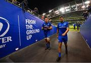 6 October 2018; Rhys Ruddock, left, and Ross Byrne of Leinster following the Guinness PRO14 Round 6 match between Leinster and Munster at the Aviva Stadium in Dublin. Photo by Ramsey Cardy/Sportsfile