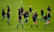 7 October 2018; Cork City FC players warm-up prior to the Continental Tyres Women's National League Development Shield Final match between Cork City FC and Wexford Youths WFC at Turner's Cross in Cork. Photo by Seb Daly/Sportsfile