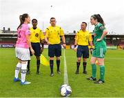 7 October 2018; Referee Kevin O'Sullivan, centre, with captains Kylie Murphy of Wexford Youths WFC, left, and Ciara McNamara of Cork City FC prior to the Continental Tyres Women's National League Development Shield Final match between Cork City FC and Wexford Youths WFC at Turner's Cross in Cork. Photo by Seb Daly/Sportsfile