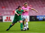 7 October 2018; Maggie Duncliffe of Cork City FC in action against Edel Kennedy of Wexford Youths WFC during the Continental Tyres Women's National League Development Shield Final match between Cork City FC and Wexford Youths WFC at Turner's Cross in Cork. Photo by Seb Daly/Sportsfile