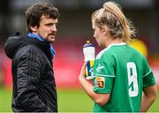 7 October 2018; Cork City FC manager Rónán Collins in conversation with Saoirse Noonan during the Continental Tyres Women's National League Development Shield Final match between Cork City FC and Wexford Youths WFC at Turner's Cross in Cork. Photo by Seb Daly/Sportsfile