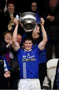 7 October 2018; Scotstown captain Darren Hughes lifts the Mick Duffy Cup following the Monaghan County Senior Club Football Championship Final match between Scotstown and Ballybay Pearse Brothers at St Tiernach's Park in Clones, Co Monaghan. Photo by Philip Fitzpatrick/Sportsfile