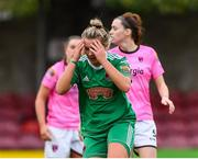 7 October 2018; Saoirse Noonan of Cork City FC reacts after seeing her shot saved during the Continental Tyres Women's National League Development Shield Final match between Cork City FC and Wexford Youths WFC at Turner's Cross in Cork. Photo by Seb Daly/Sportsfile