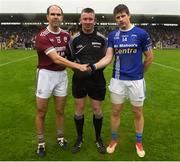 7 October 2018; Referee Anthony Marron with Ballybay and Scotstown captains Paul Finlay and Darren Hughes prior to the Monaghan County Senior Club Football Championship Final match between Scotstown and Ballybay Pearse Brothers at St Tiernach's Park in Clones, Co Monaghan. Photo by Philip Fitzpatrick/Sportsfile