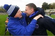 7 October 2018; Former Ard Stiúrthóir of the GAA Páraic Duffy, left, and Scotstown manager Kieran Donnelly celebrate following the Monaghan County Senior Club Football Championship Final match between Scotstown and Ballybay Pearse Brothers at St Tiernach's Park in Clones, Co Monaghan. Photo by Philip Fitzpatrick/Sportsfile