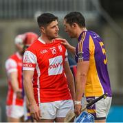 7 October 2018; Ross O'Carroll of Kilmacud Crokes consoles David Treacy of Cuala after the Dublin County Senior Club Hurling Championship semi-final match between Kilmacud Crokes and Cuala at Parnell Park in Dublin. Photo by Daire Brennan/Sportsfile