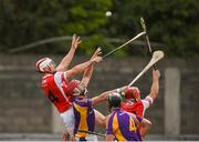 7 October 2018; Con O'Callaghan, left, and David Treacy of Cuala in action against Bill O'Carroll, left, and Jamie Clinton of Kilmacud Crokes during the Dublin County Senior Club Hurling Championship semi-final match between Kilmacud Crokes and Cuala at Parnell Park in Dublin. Photo by Daire Brennan/Sportsfile
